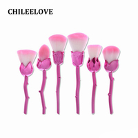 CHILEELOVE 6 Pcs Rose Shape Makeup Brush Pro Cosmetic Tool For Women Girl Powder Flame Blush