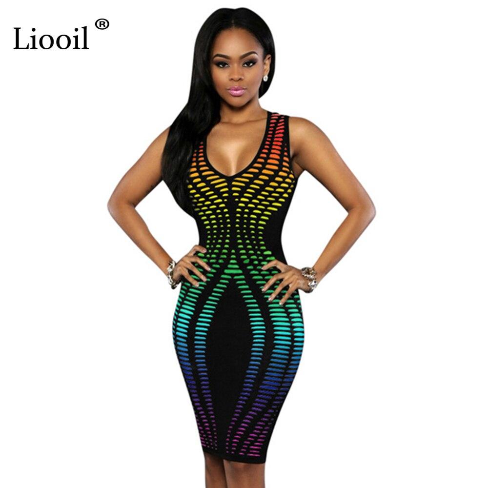2017 Summer Sexy African Print Dashiki Women Dress 7 Color Sleeveless Deep V Neck Club Midi Bodycon Party Dresses Vestidos