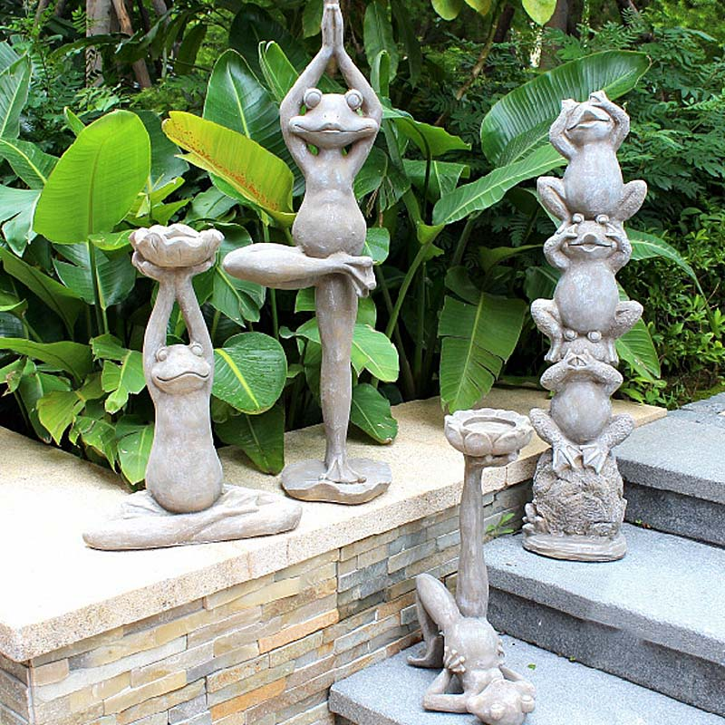 Us 99 8 Stretching Yoga Frog Garden Sculpture Funny Outdoor Ornaments Best Indoor Figurines For Patio Yard Lawn In