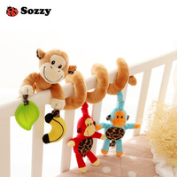Sozzy Comfort Plush Cartoon Animal Activity Spiral Baby Crib Hanging Toys Musical Pull And Shake Stroller
