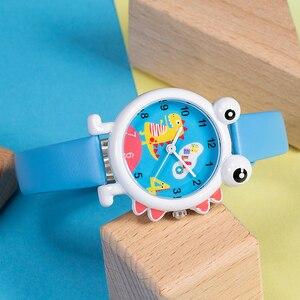 Image 5 - KDM Lovely Cartoon Dinosaur Children Watch Cute Kids Boys Waterproof Watches Genuine Leather Kid Wristwatch Students Clock