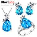 Anillo aretes collar de sistemas de la joyería para las mujeres joyas de plata de la lágrima de cristal azul colgante de joyería de la boda set uloveido t207