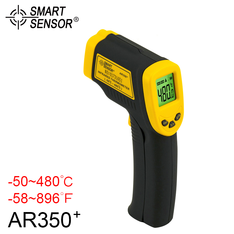 SMART SENSOR Infrared Thermometer Digital Handheld Themperature Gauge Pyrometer Backlight K-Type Non-touch Thermometer -50~480C tpi 306c 40 150 pen type digital thermometer