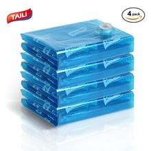 купить 4 PCS Blue Vacuum Bags For Clothes Closet Clothing Organizer Travel Luggage Seal Bag Plastic Space Saving Compression Bag по цене 592.69 рублей