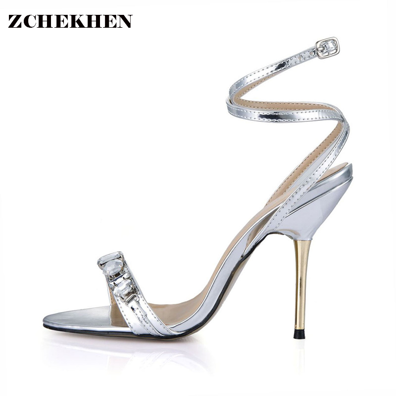 Luxury Designer Shoes Women Gemstone Jeweled Gladiator Sandals gold High Heels Woman Ankle Strap Rhinestone Sandals 3845C-i15 2017 new ankle wrap rhinestone high heel shoes woman abnormal jeweled heels gladiator sandals women pvc padlock sandals shoes
