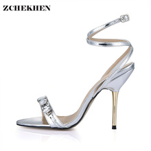 Купить с кэшбэком Luxury Designer Shoes Women Gemstone Jeweled Gladiator Sandals gold High Heels Woman Ankle Strap Rhinestone Sandals 3845C-i15