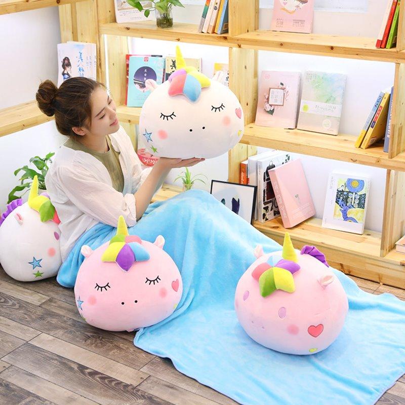40cm Kawaii Plush Unicorn Stuffed Pillow Blanket Soft Coral Fleece Air Condition Blanket Lovely Unicorn Stuffed Plush Toys