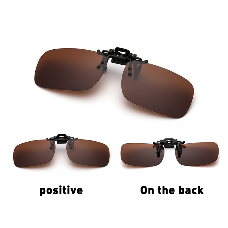 Mounchain Polarized Glasses Day Night Vision Driving Sunglasses Clip-on Flip-up <font><b>Lens</b></font> image
