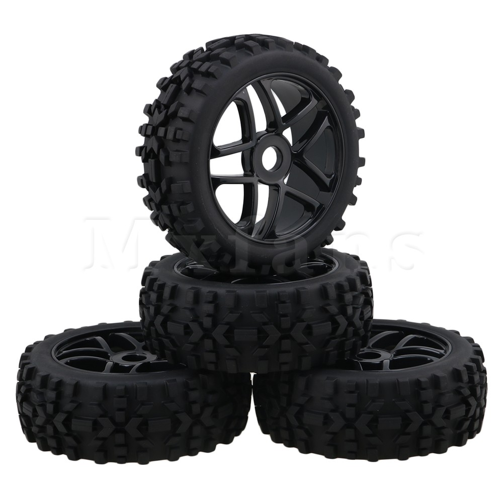 Mxfans  Black RC1:8 Off-Road Car Rhombus Pattern Rubber Tyre & Plastic Triangular 5-Spoke Wheel Rim with 17mm Drive Hex Pack of hd w82 replacement universal rubber plastic wheel for 1 8 truck black white 2 pcs