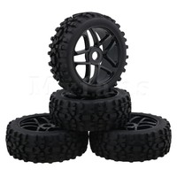 Mxfans Black RC1 8 Off Road Car Rhombus Pattern Rubber Tyre Plastic Triangular 5 Spoke Wheel