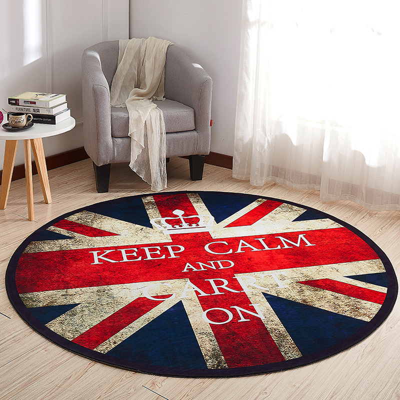 Nordic Simple Modern Cowhide Texture Home Round Living Room Carpet Kitchen Study Bedroom Bedside Children Crawl Mat Entrance Rug