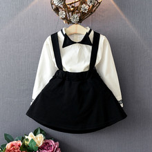 Girls clothing set Shirt Skirt two pieces Autumn long sleeve Tops Bow School style Black white Size for 2,3,4,5,6 years kids