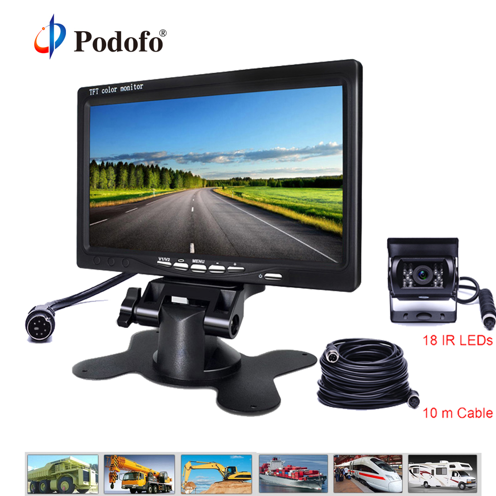 Podofo DC12~24V Car Monitor with 2 Video Input 4pin IR Night Vision 7 Inch LCD Auto Parking Rear View Camera for RV Truck Bus free shipping 4 3 lcd monitor car rear view kit 1ch auto parking system for truck bus school bus dc 12v input rear view camera