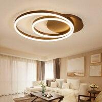 Современные круглые кольца светодио дный потолочные светильники гостиная спальня столовая акриловая домашняя коричневая потолочная ламп