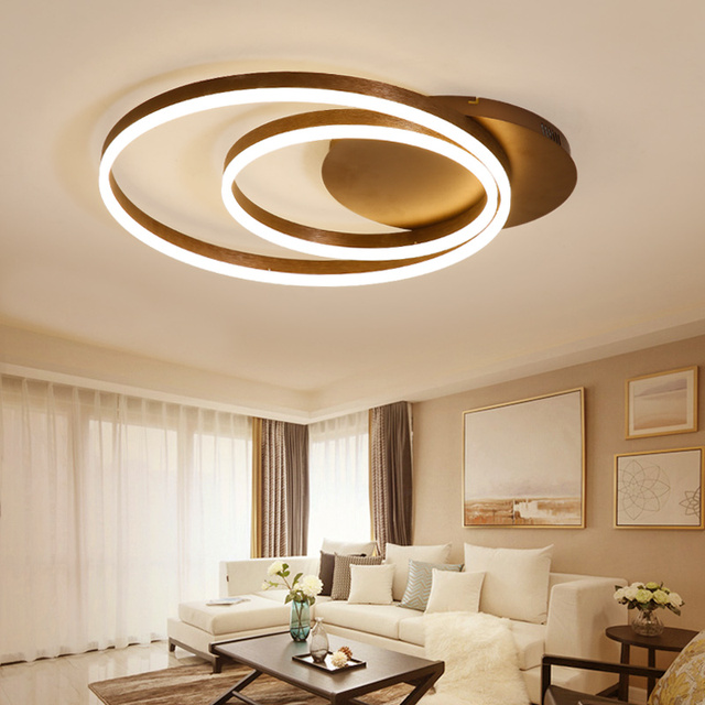 Modern Circle Rings LED Ceiling Lights Living Room Bedroom Dining room Acrylic Indoor Home Brown Ceiling Lamp Lampara de techo