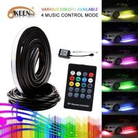 OKEEN 4pcs Waterproof RGB 5050 RF Remote Control Strip Under Car Underglow Underbody System Kit Remote