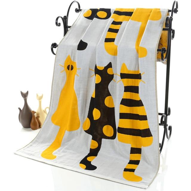 ca17a9699 Nuevo gato lindo gasa de algodón Toalla de baño grande toalla Camping playa  de deporte niños