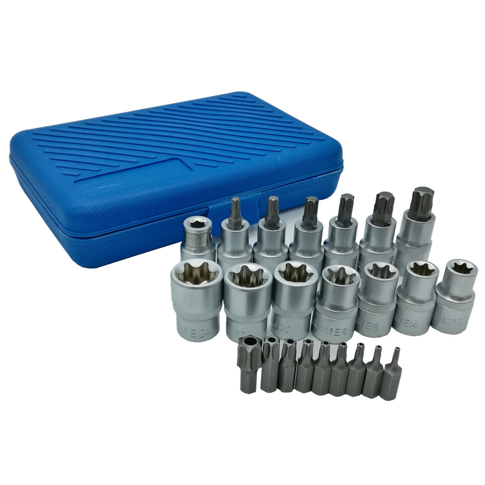 23PC Bit Socket Wench Set 1/2 Female Bit Socket CR-V E Type Socket Safety Torx Bits Set mainpoint 1 4 1 2 3 8 e socket sockets set cr v torx star bit combination drive socket nuts set for auto car repair hand tool