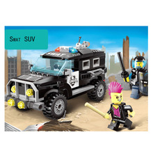 185Pcs Explosion-proof police  Car Assemble Diy Building Block Figures Educational SWAT SUV Mini Model Children Kid Toys kazi police armored car building block swat with weapon series action model brick educational toys for children gifts