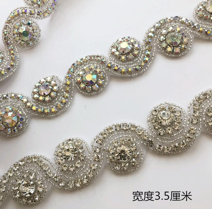 1Yard Sew-onSelf-AdhesiveHot fix Wave Rhinestones Lace Ribbon Chain Trim For Belt Wedding Dress Shoes Sewing Craft Diy
