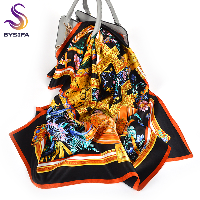 [BYSIFA] New Black Gold 100% Silk   Scarf   Shawl Women Fashion Floral Design Head   Scarf   Cape Spring Fall Satin Square   Scarves     Wraps