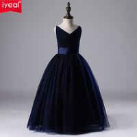 IYEAL Kids Girl Wedding Dress Children Brand Clothing Navy Blue Girl Dresses Kids Long Evening Party