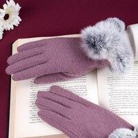 REALBYฤดูหนาวหน้าจอถุงมือผู้หญิงมืออุ่นกระต่ายในข้อมือถุงมือผ้าขนสัตว์แคชเมียร์ถุงมือG Uantes F ...