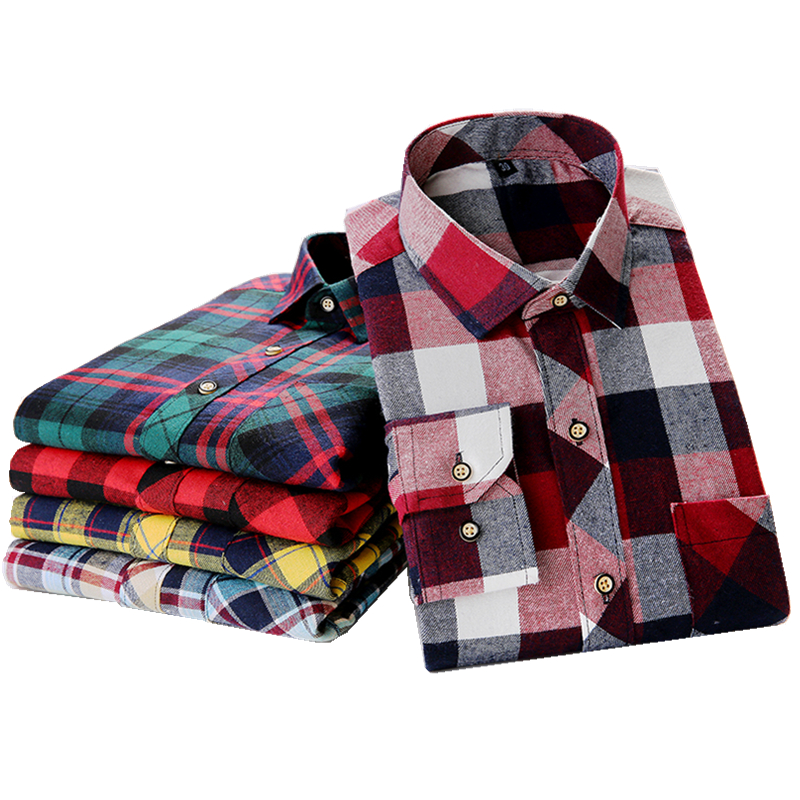 Men s Long Sleeve Brushed Flannel Shirt with Chest Pocket Slim fit Cotton Midweight Casual Plaid