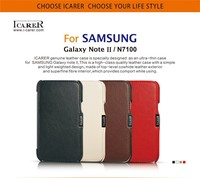 MOQ 1pc For Samsung Galaxy Note2 Note II N7100 Original Icarer Brand 100 Genuine Leather Natural