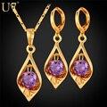 U7 luxo cubic zirconia set jóias banhado a ouro roxo jóia de cristal partido/casamento brincos colar set s641