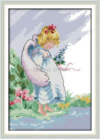 Wholesale Needlework,Stitch,DIY 14CT DMC Cross Stitch,Sets For Embroidery Kits,The Angel Girl Patterns Counted Cross-Stitching