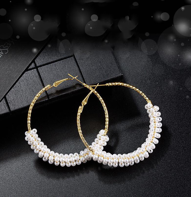 1 Pair Fashion 50mm Big Round Loop Circle  Earring New Brand Imitation Pearl Gold-color Flower Cut Loop  Earrings 2