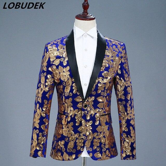 High-end Men Gold Sequins Jacket Fashion Slim Blue Black Red Formal Blazer  Coat Nightclub DJ Singer Host Performance Stage Wears d25d0ba660d7