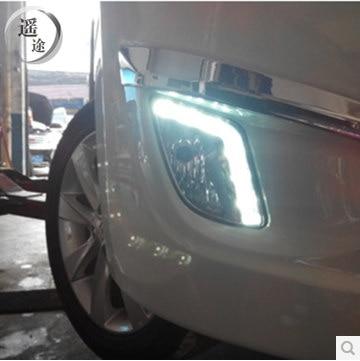 ФОТО Hireno Car LED DRL Waterproof ABS 12V Daytime Running Lights for Hyundai verna 2011-13 Fog lamp 2PCS