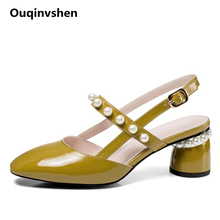 Ouqinvshen Yellow Round Toe Women High Big Size 34-42 Heel Buckle Strap Fashion Solid Color Summer Shoes String Bead Women Shoes