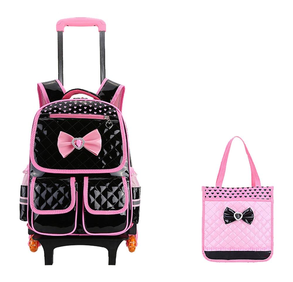 Doux Style Filles Cartables Enfants 6 roues Chariot Sac À Dos Amovible Enfants De Roulement Bookbag Voyage Bagages Mochila Infantil