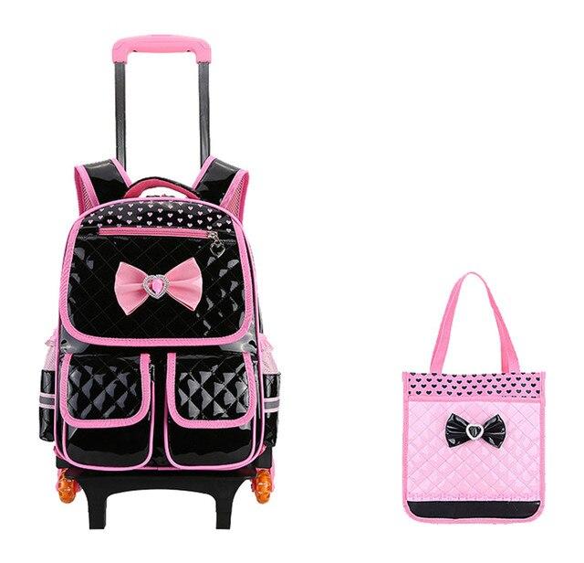 Sweet Style S Schoolbags Children 6 Wheels Trolley Backpack Detachable Kids Rolling Bookbag Travel Luggage Mochila