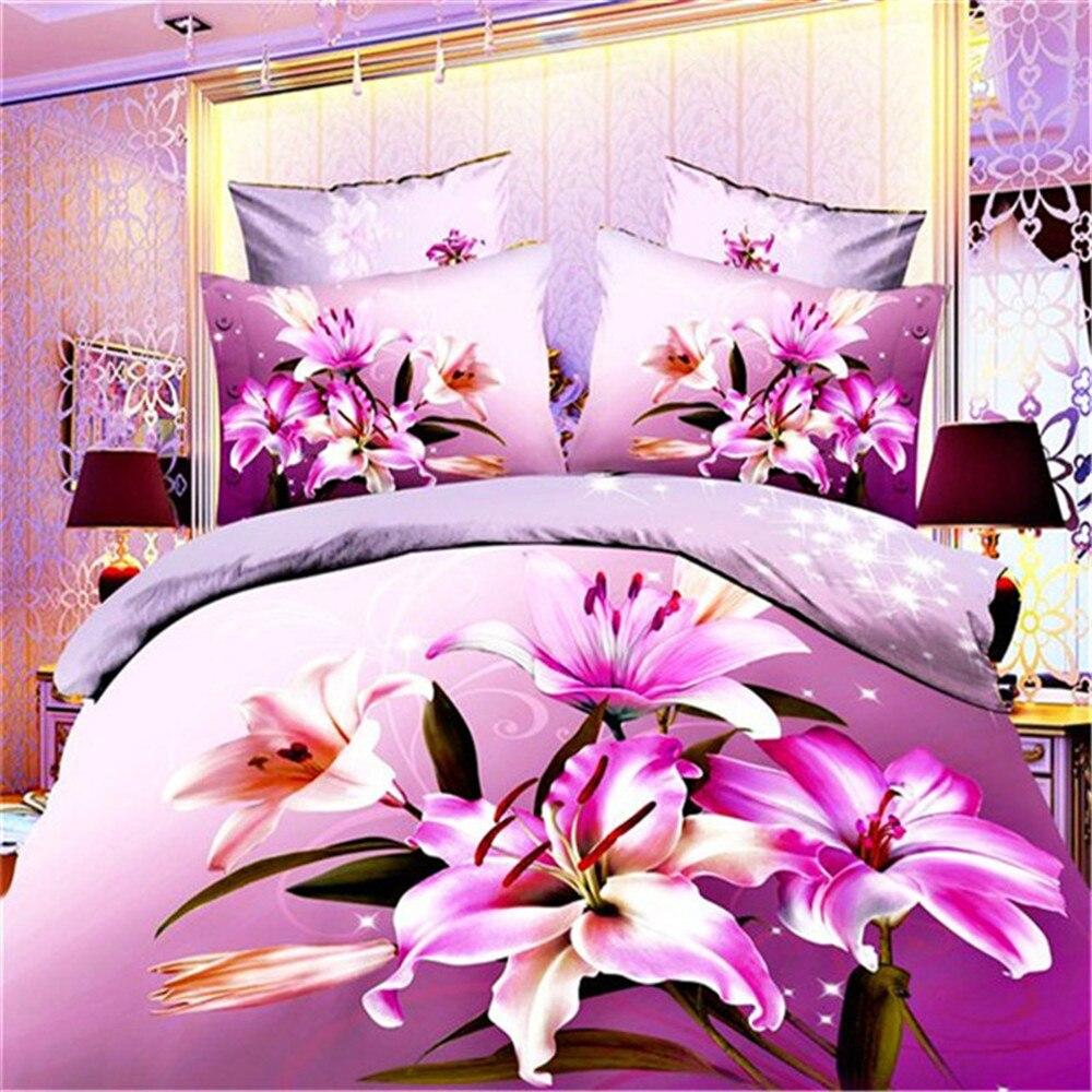 Vivid violet Flowers 3D Oil Bedding Sets 4pcs covers set Sheet set Duvet Cover pillowcase bedclothes Full/Queen Size home textieVivid violet Flowers 3D Oil Bedding Sets 4pcs covers set Sheet set Duvet Cover pillowcase bedclothes Full/Queen Size home textie