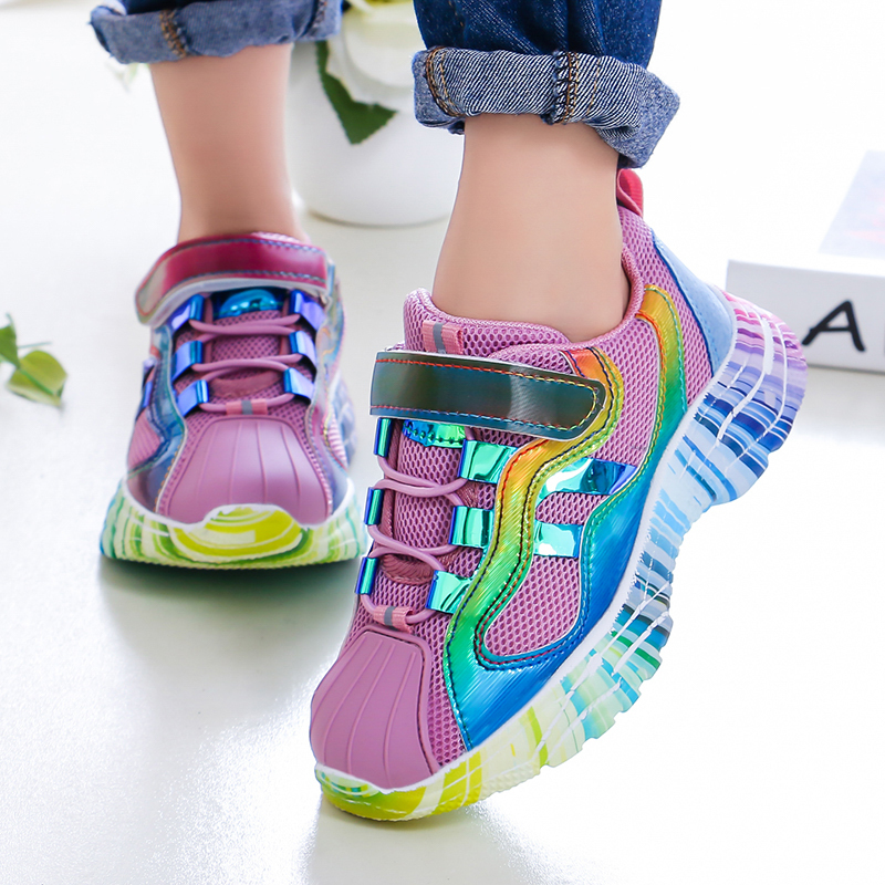 ULKNN Girls Sports Shoes 2019 Fall New Children's Pink Shoes Baby Mesh Autumn Breathable Mesh Red Enfants Shoe Size 27-37