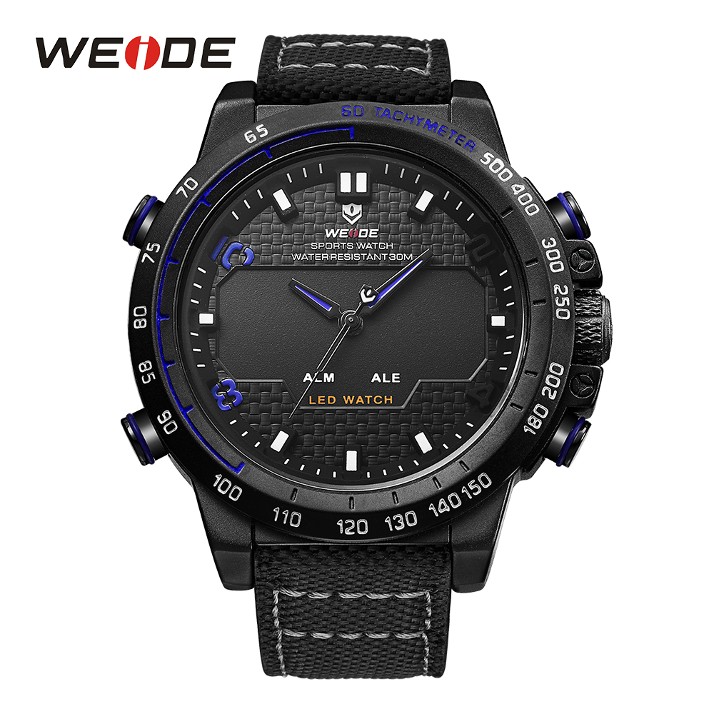 WEIDE Watches Men Luxury Sports LCD Digital Alarm Military Watch Nylon Strap Big Dial 3ATM Analog LED Display Men's Quartz Watch weide watches men luxury sports lcd digital alarm military watch nylon strap big dial 3atm analog led display men s quartz watch