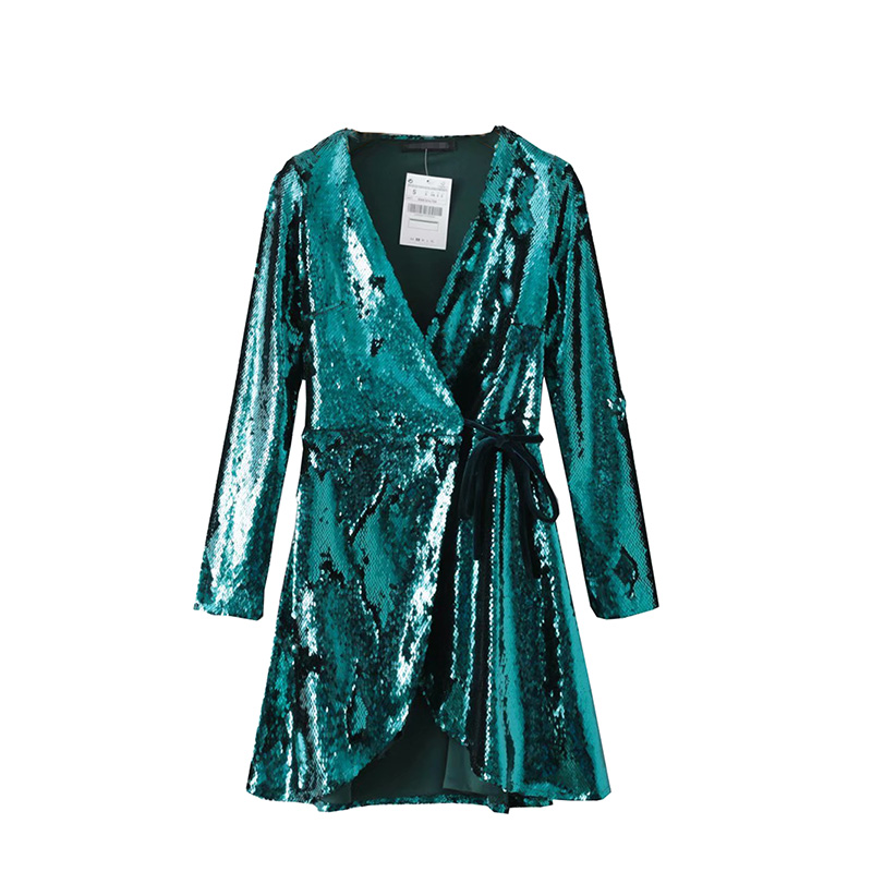 Fête Très Printemps Ceinture Adjstable Mince Tenue Émeraude Sexy Robe Rise Cut 2019 Emerald High Wrap De Low Sequin Brillez 0qZ0dBw