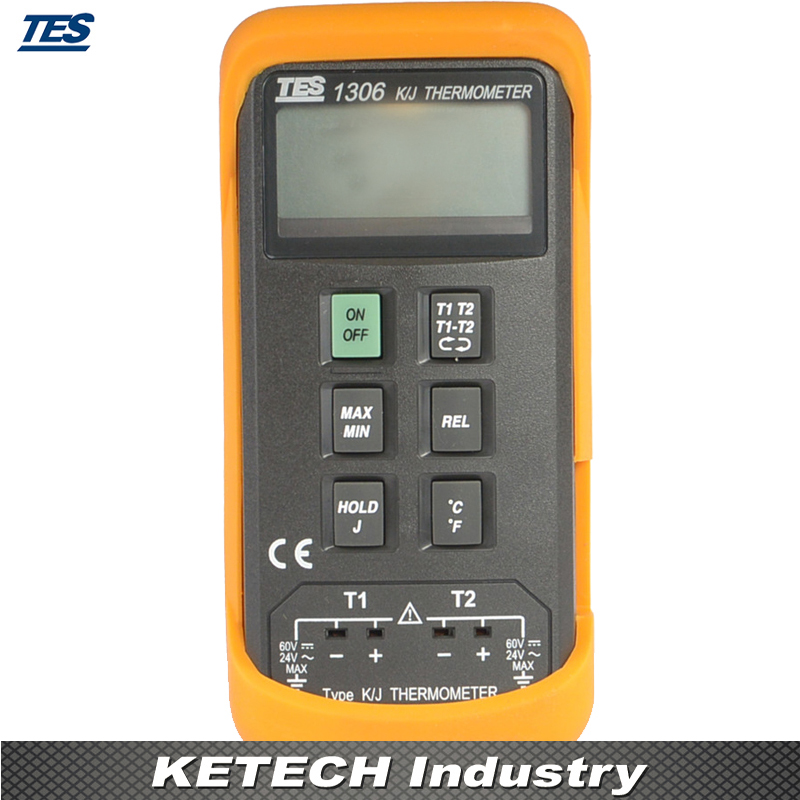 TES-1306 Digital Industrial Thermometer (K/J Type Thermocouple Input) tes 1326s industrial infrared thermometer 35 500c