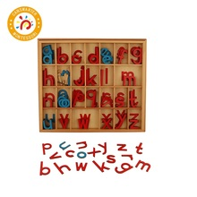 Baby Toy Montessori Material Language Wooden Movable Alphabet Red and Blue Preschool Early Child