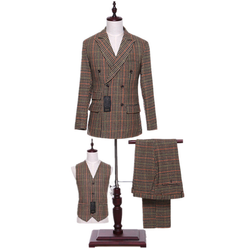 Classic New Men's Suit Red Yellow Green Stripes Lapel Double-breasted Men's Business Office Suite (jacket + Pants + Vest) Custom