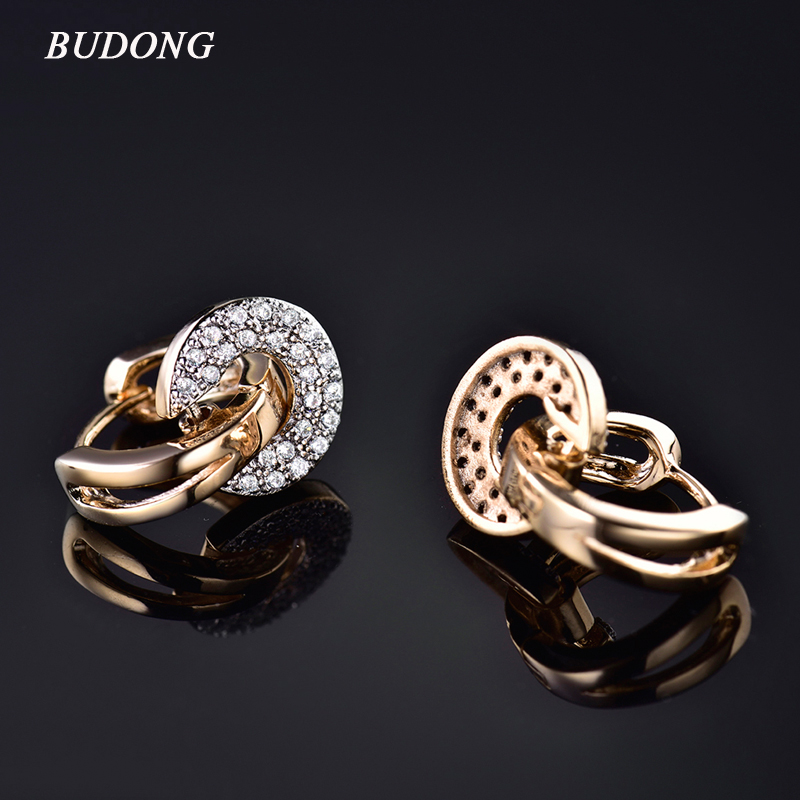 BUDONG 2017 Unique Round Drop Piercing Infinity Huggie Hoop Earring for Women Silver / Gold-Color Earing Round CZ Smykker for mor