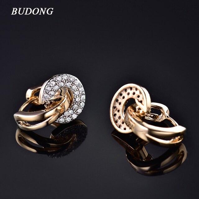 BUDONG 2017 Unique Round Drop Piercing Infinity Huggie Hoop Earring for Women Si