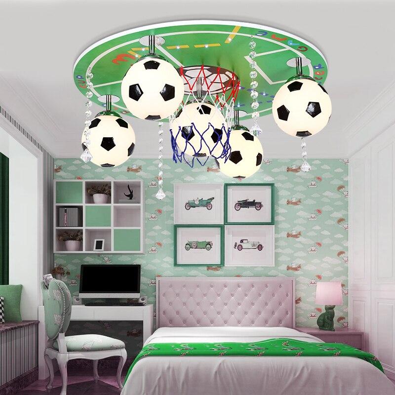 Футбол зеленый светодиодный потолочный светильник детская спальня свет Для мальчиков и девочек принцесса детская ясли потолочные светиль...