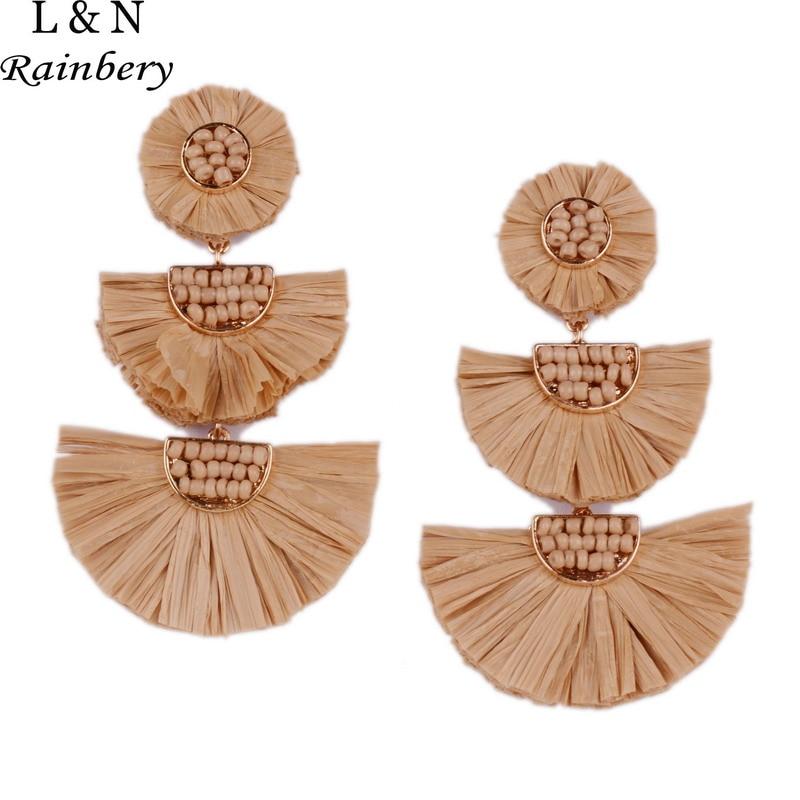 Rainbery 2018 New Girl Raffia Earrings Tassel Earrings Lights
