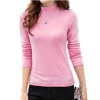 S 5XL Autumn New Women S Long Sleeved High Neck T Shirts Femal Slim Plus Size