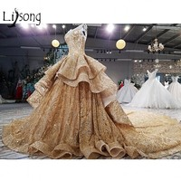 Golden Time Dubai Wedding Dresses Shiny Crystal Lace Puffy Empire Ruffles Bridal Gowns Luxury Dubai Sheer